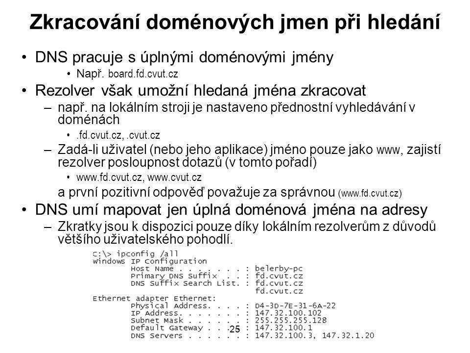 25 Zkracování doménových jmen při hledání DNS pracuje s úplnými doménovými jmény Např. board.fd.cvut.cz Rezolver však umožní hledaná jména zkracovat –