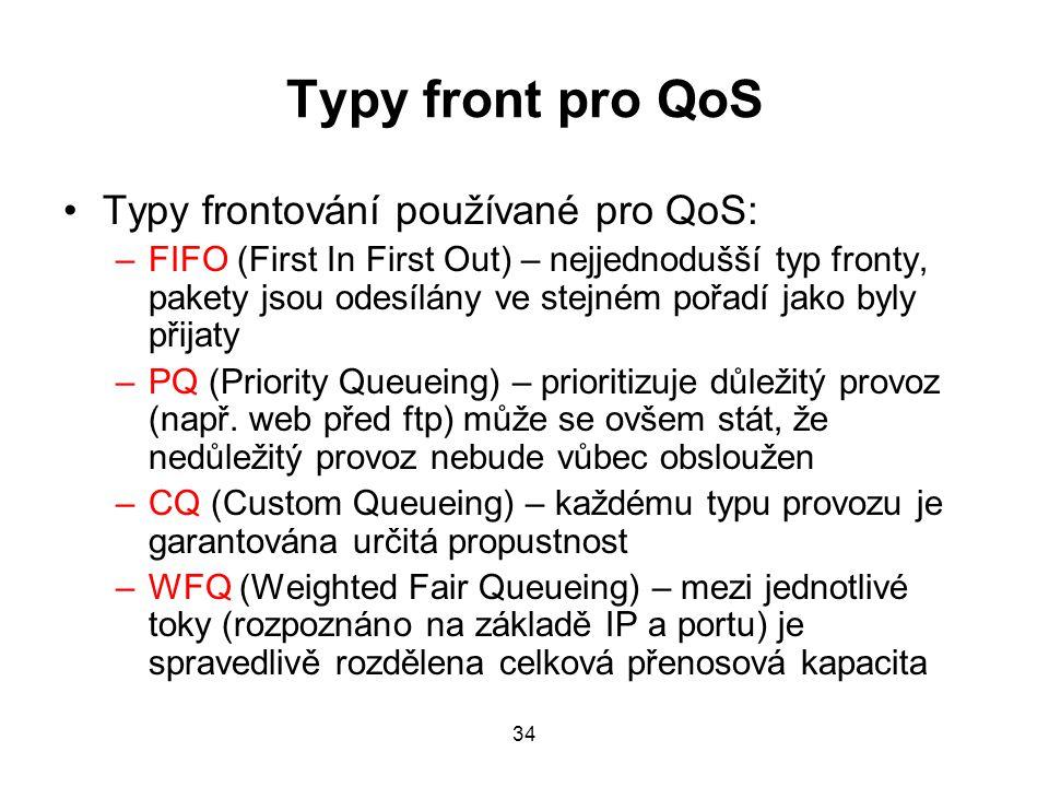 Typy front pro QoS Typy frontování používané pro QoS: –FIFO (First In First Out) – nejjednodušší typ fronty, pakety jsou odesílány ve stejném pořadí jako byly přijaty –PQ (Priority Queueing) – prioritizuje důležitý provoz (např.