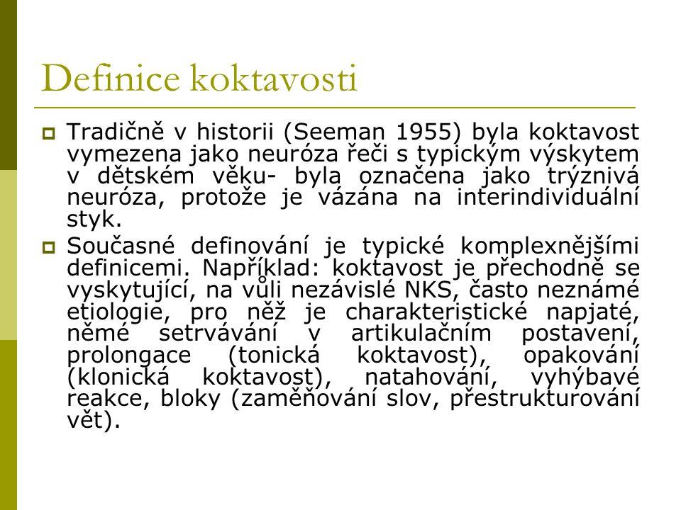 Definice koktavosti  Tradičně v historii (Seeman 1955) byla koktavost vymezena jako neuróza řeči s typickým výskytem v dětském věku- byla označena ja