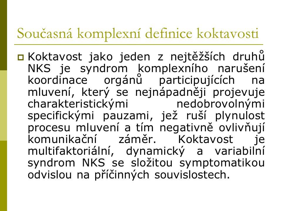 Současná komplexní definice koktavosti  Koktavost jako jeden z nejtěžších druhů NKS je syndrom komplexního narušení koordinace orgánů participujících