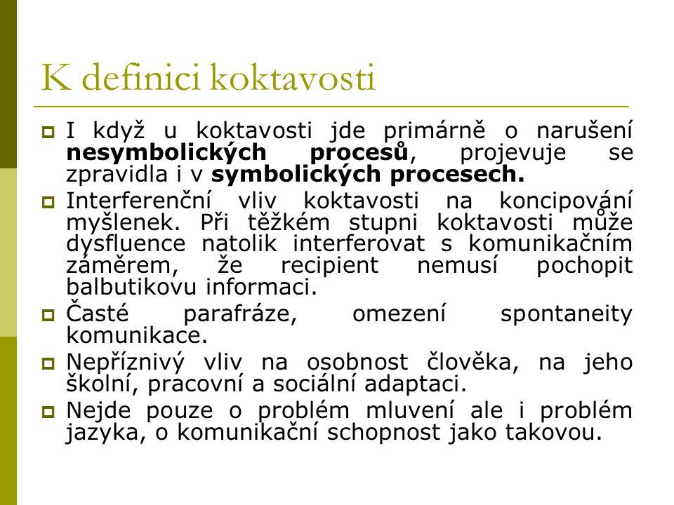 K definici koktavosti  I když u koktavosti jde primárně o narušení nesymbolických procesů, projevuje se zpravidla i v symbolických procesech.  Inter