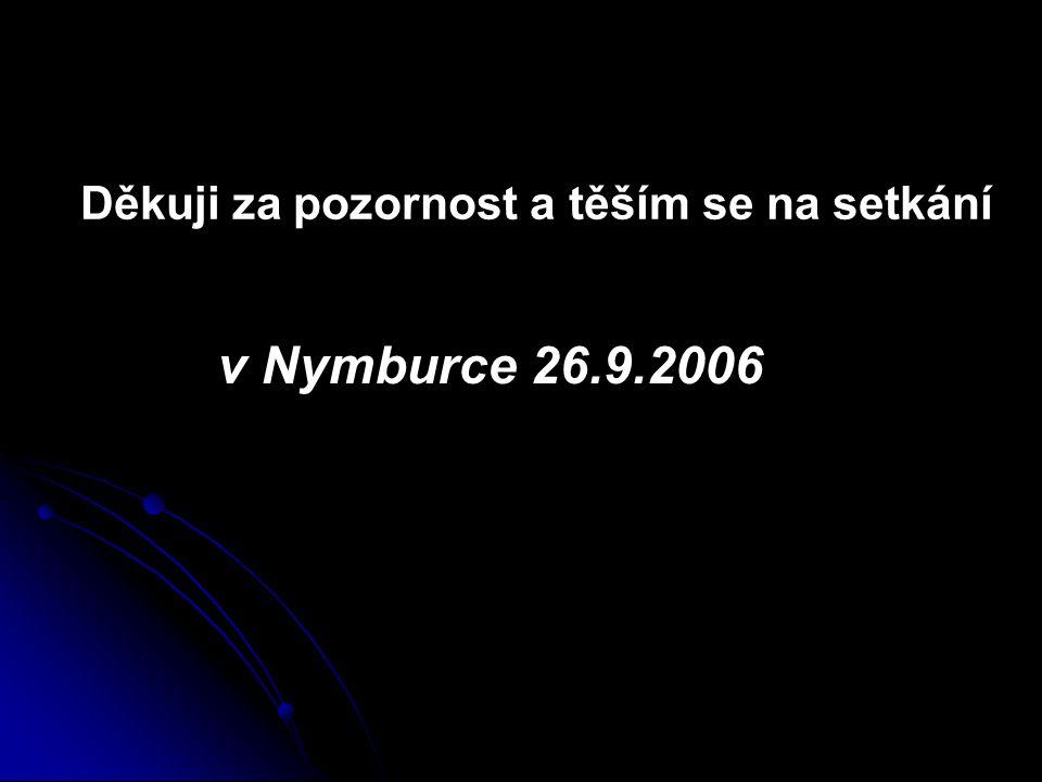 Děkuji za pozornost a těším se na setkání v Nymburce 26.9.2006