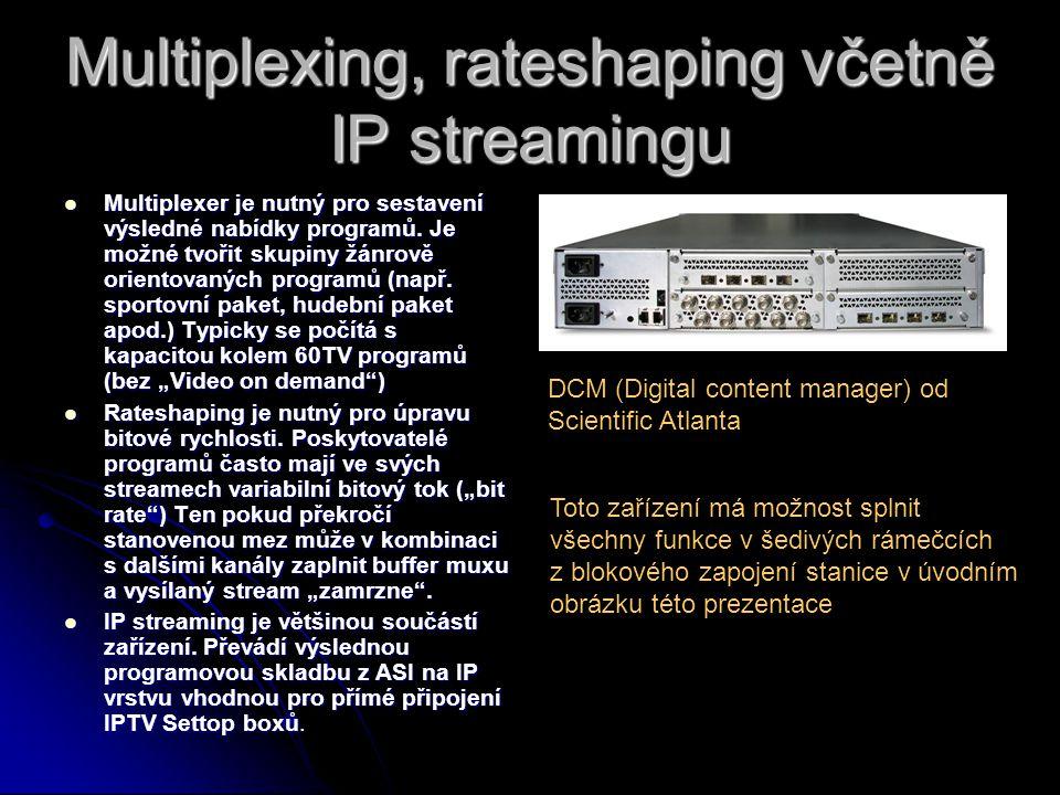 Multiplexing, rateshaping včetně IP streamingu Multiplexer je nutný pro sestavení výsledné nabídky programů.