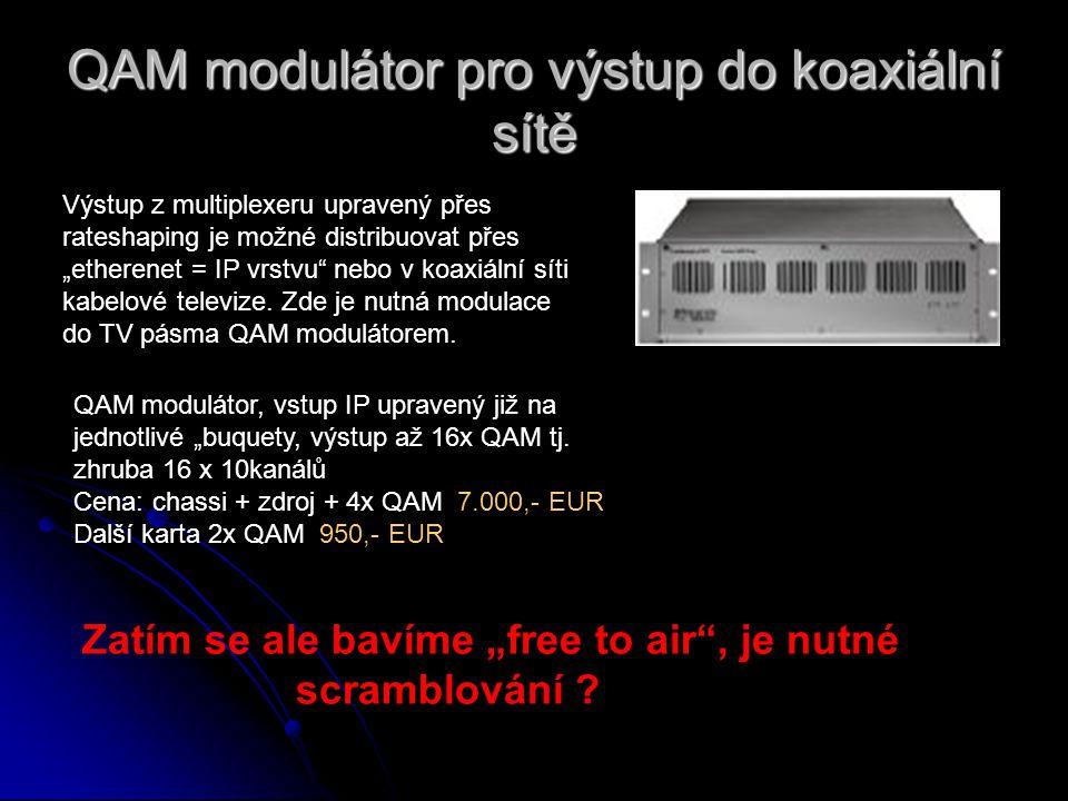 """QAM modulátor pro výstup do koaxiální sítě QAM modulátor, vstup IP upravený již na jednotlivé """"buquety, výstup až 16x QAM tj. zhruba 16 x 10kanálů Cen"""