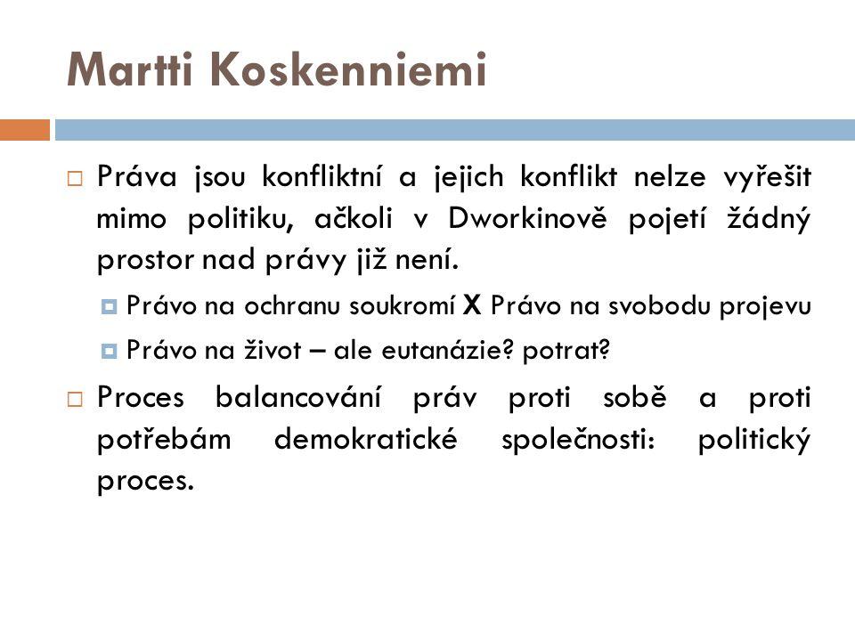 Martti Koskenniemi  Práva jsou konfliktní a jejich konflikt nelze vyřešit mimo politiku, ačkoli v Dworkinově pojetí žádný prostor nad právy již není.