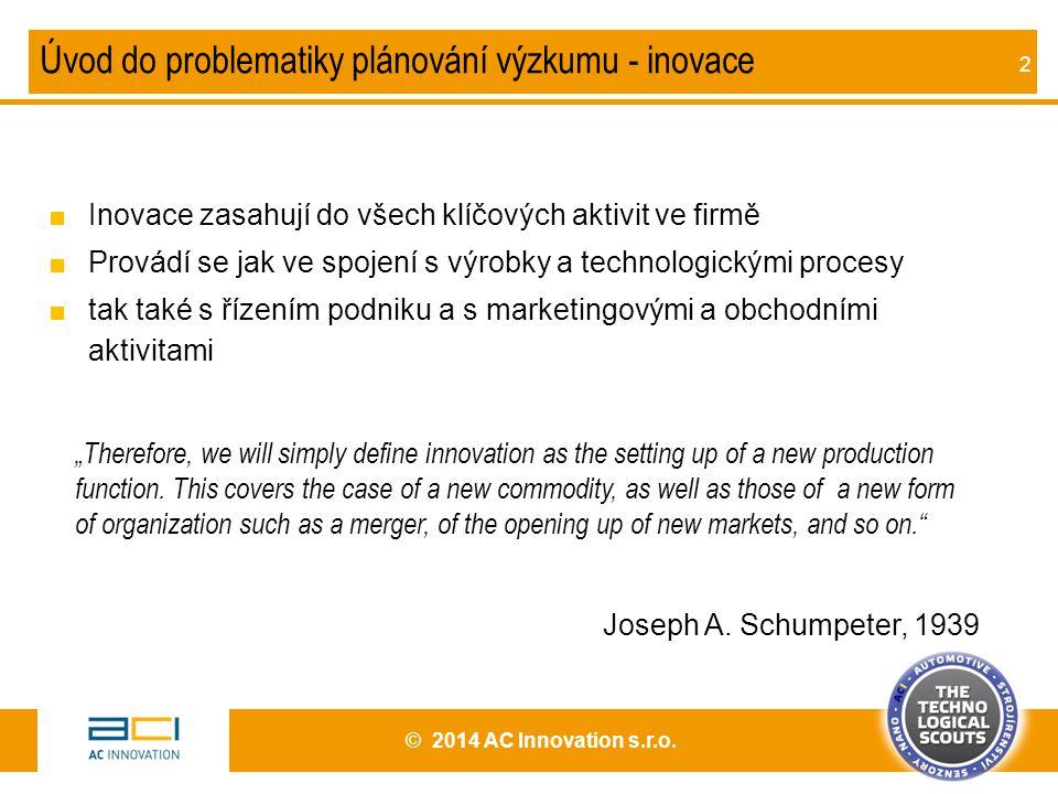 2 Úvod do problematiky plánování výzkumu - inovace ■Inovace zasahují do všech klíčových aktivit ve firmě ■Provádí se jak ve spojení s výrobky a techno