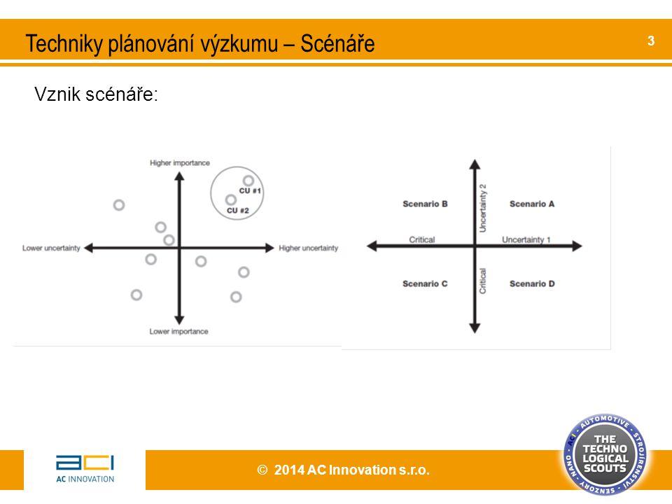 © 2014 AC Innovation s.r.o. 3 Techniky plánování výzkumu – Scénáře Vznik scénáře: