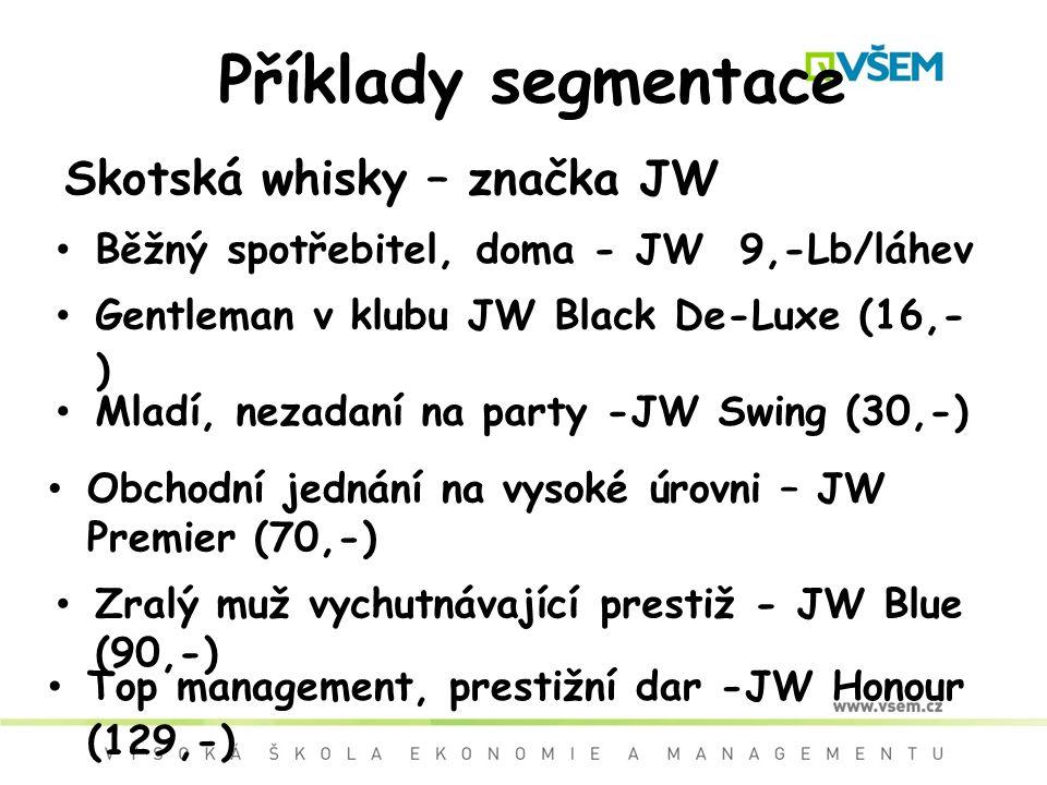Příklady segmentace Skotská whisky – značka JW Běžný spotřebitel, doma - JW 9,-Lb/láhev Gentleman v klubu JW Black De-Luxe (16,- ) Mladí, nezadaní na party -JW Swing (30,-) Obchodní jednání na vysoké úrovni – JW Premier (70,-) Zralý muž vychutnávající prestiž - JW Blue (90,-) Top management, prestižní dar -JW Honour (129,-)