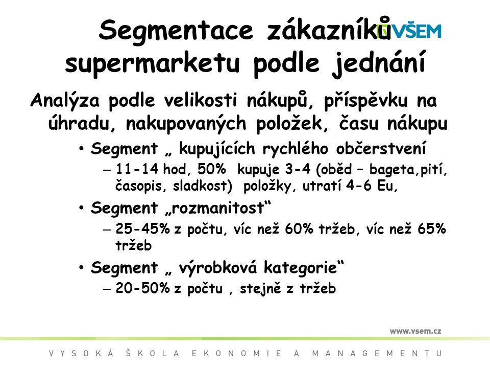 """Segmentace zákazníků supermarketu podle jednání Analýza podle velikosti nákupů, příspěvku na úhradu, nakupovaných položek, času nákupu Segment """" kupujících rychlého občerstvení – 11-14 hod, 50% kupuje 3-4 (oběd – bageta,pití, časopis, sladkost) položky, utratí 4-6 Eu, Segment """"rozmanitost – 25-45% z počtu, víc než 60% tržeb, víc než 65% tržeb Segment """" výrobková kategorie – 20-50% z počtu, stejně z tržeb"""