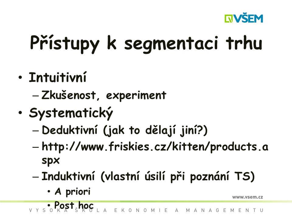 Přístupy k segmentaci trhu Intuitivní – Zkušenost, experiment Systematický – Deduktivní (jak to dělají jiní?) – http://www.friskies.cz/kitten/products.a spx – Induktivní (vlastní úsilí při poznání TS) A priori Post hoc