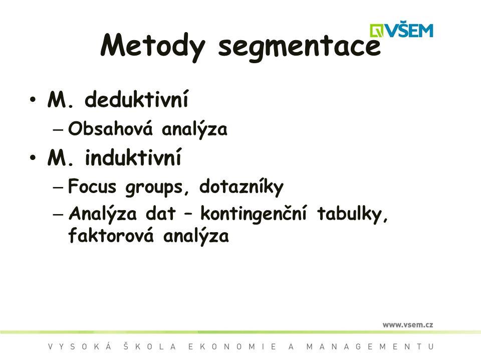 Metody segmentace M.deduktivní – Obsahová analýza M.