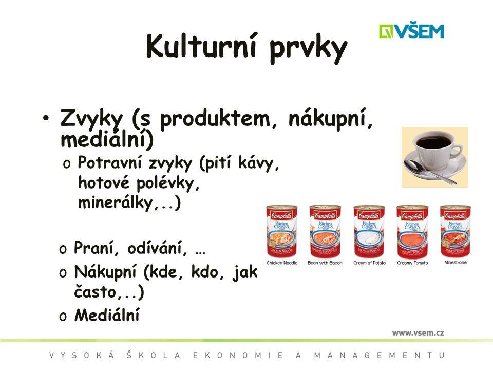 Kulturní prvky Zvyky (s produktem, nákupní, mediální) oPotravní zvyky (pití kávy, hotové polévky, minerálky,..) oPraní, odívání, … oNákupní (kde, kdo, jak často,..) oMediální