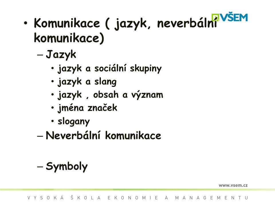 Komunikace ( jazyk, neverbální komunikace) – Jazyk jazyk a sociální skupiny jazyk a slang jazyk, obsah a význam jména značek slogany – Neverbální komunikace – Symboly