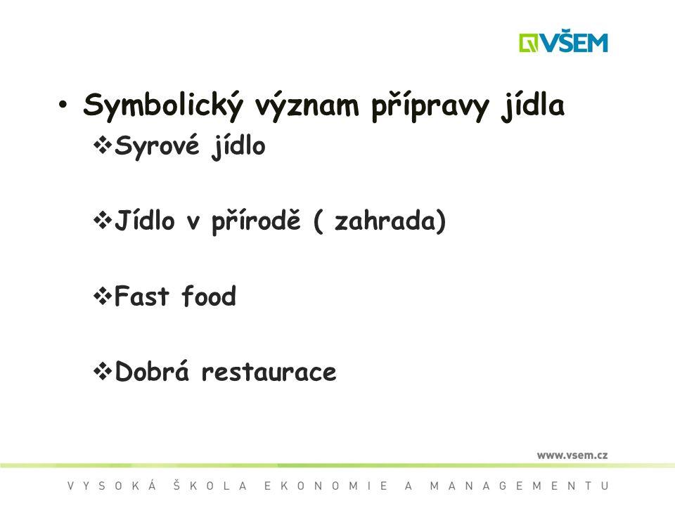 Symbolický význam přípravy jídla  Syrové jídlo  Jídlo v přírodě ( zahrada)  Fast food  Dobrá restaurace