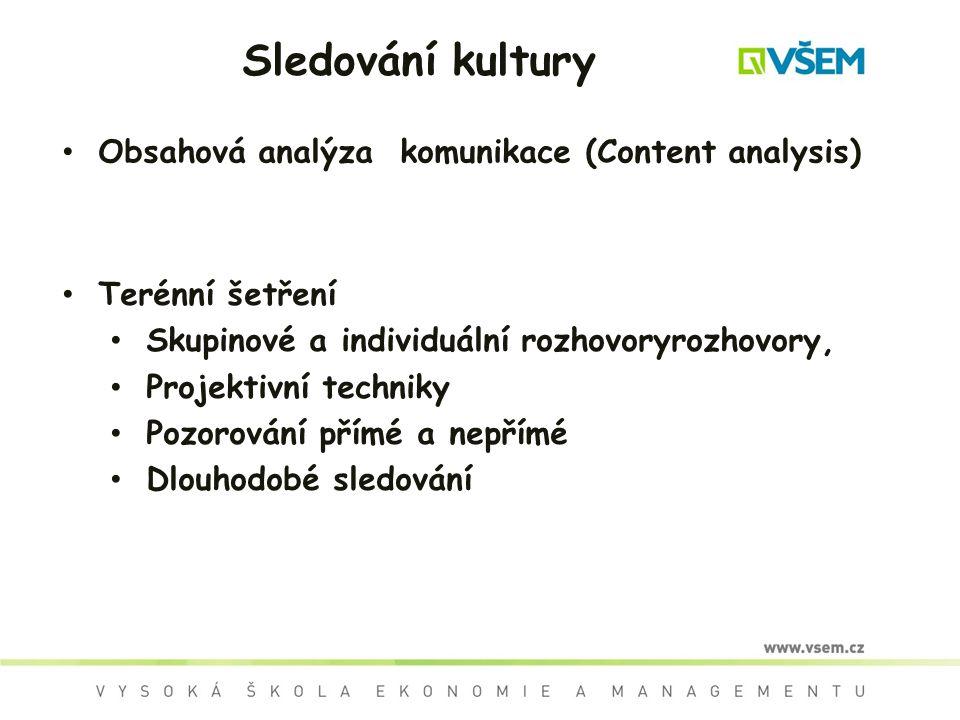 Sledování kultury Obsahová analýza komunikace (Content analysis) Terénní šetření Skupinové a individuální rozhovoryrozhovory, Projektivní techniky Pozorování přímé a nepřímé Dlouhodobé sledování