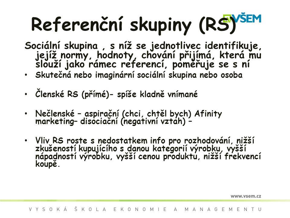 Referenční skupiny (RS) Sociální skupina, s níž se jednotlivec identifikuje, jejíž normy, hodnoty, chování přijímá, která mu slouží jako rámec referencí, poměřuje se s ní Skutečná nebo imaginární sociální skupina nebo osoba Členské RS (přímé)- spíše kladně vnímané Nečlenské – aspirační (chci, chtěl bych) Afinity marketing– disociační (negativní vztah) – Vliv RS roste s nedostatkem info pro rozhodování, nižší zkušeností kupujícího s danou kategorií výrobku, vyšší nápadností výrobku, vyšší cenou produktu, nižší frekvencí koupě.