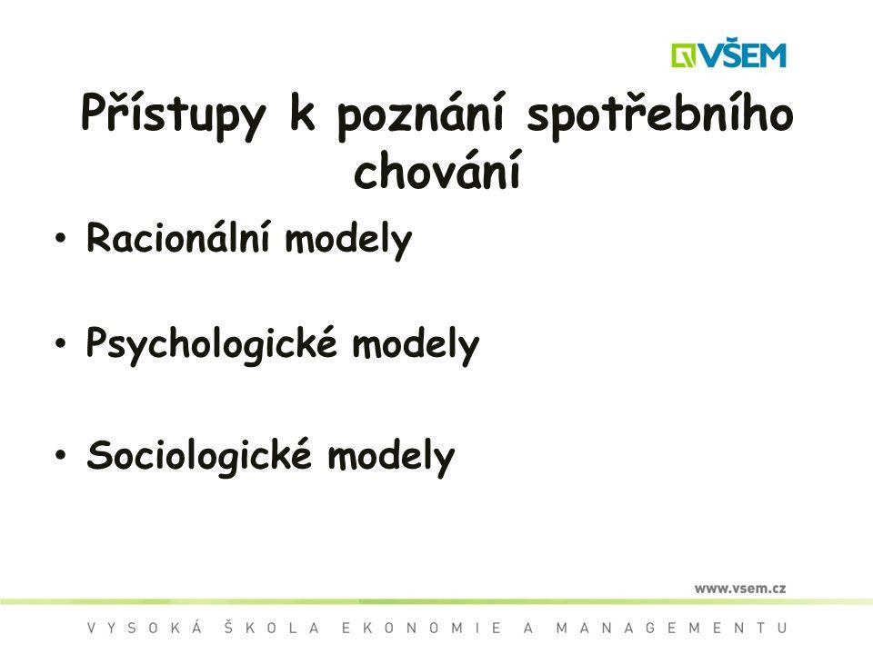 Přístupy k poznání spotřebního chování Racionální modely Psychologické modely Sociologické modely