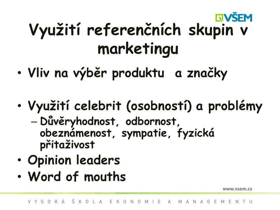 Využití referenčních skupin v marketingu Vliv na výběr produktu a značky Využití celebrit (osobností) a problémy – Důvěryhodnost, odbornost, obeznámenost, sympatie, fyzická přitaživost Opinion leaders Word of mouths