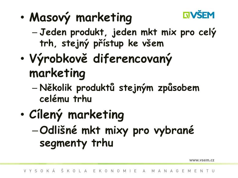Masový marketing – Jeden produkt, jeden mkt mix pro celý trh, stejný přístup ke všem Výrobkově diferencovaný marketing – Několik produktů stejným způsobem celému trhu Cílený marketing – Odlišné mkt mixy pro vybrané segmenty trhu