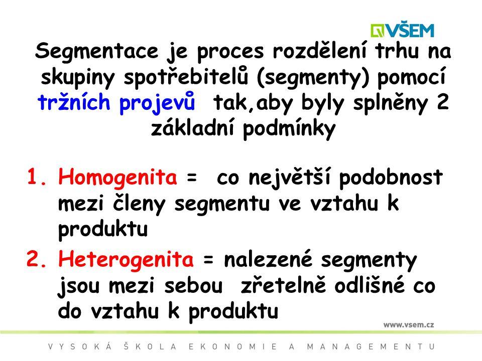 Segmentace je proces rozdělení trhu na skupiny spotřebitelů (segmenty) pomocí tržních projevů tak,aby byly splněny 2 základní podmínky 1.Homogenita =