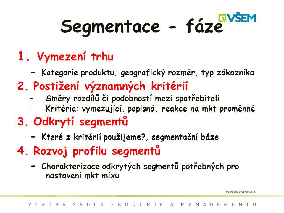 Segmentace - fáze 1. Vymezení trhu - Kategorie produktu, geografický rozměr, typ zákazníka 2.Postižení významných kritérií -Směry rozdílů či podobnost