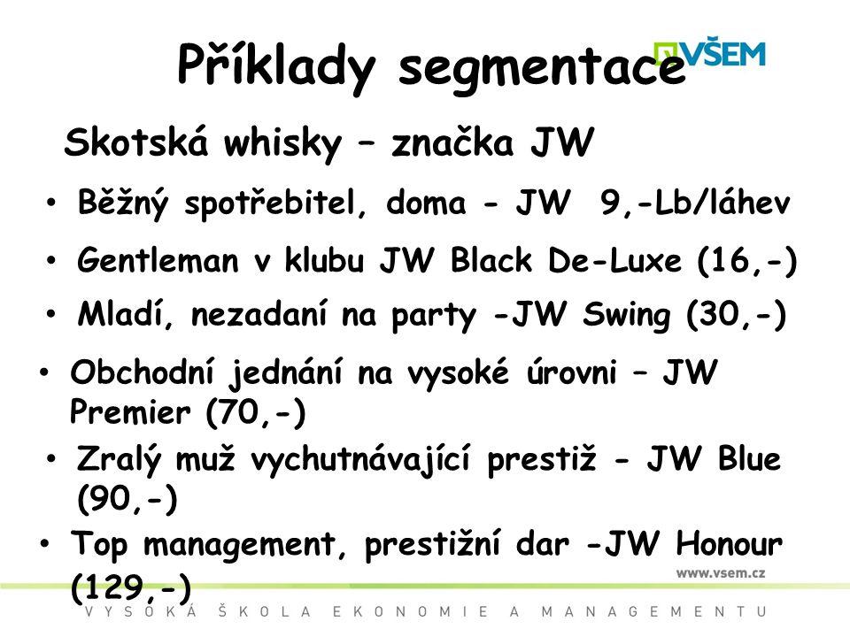 Příklady segmentace Skotská whisky – značka JW Běžný spotřebitel, doma - JW 9,-Lb/láhev Gentleman v klubu JW Black De-Luxe (16,-) Mladí, nezadaní na p