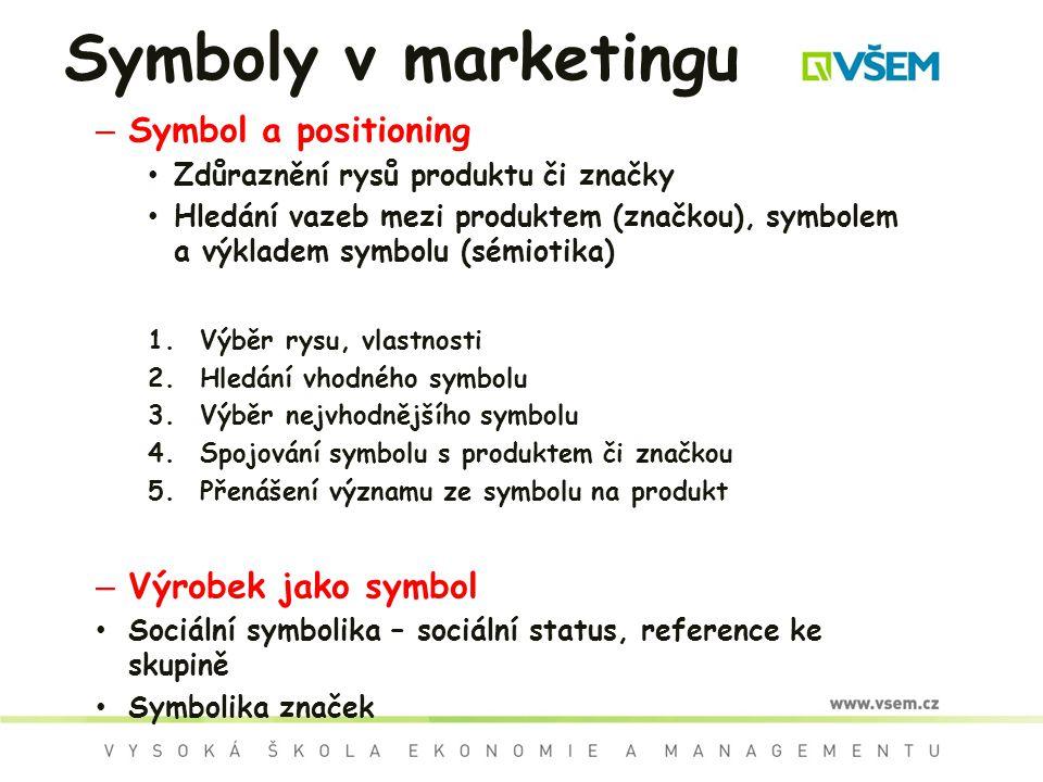 – Symbol a positioning Zdůraznění rysů produktu či značky Hledání vazeb mezi produktem (značkou), symbolem a výkladem symbolu (sémiotika) 1.Výběr rysu