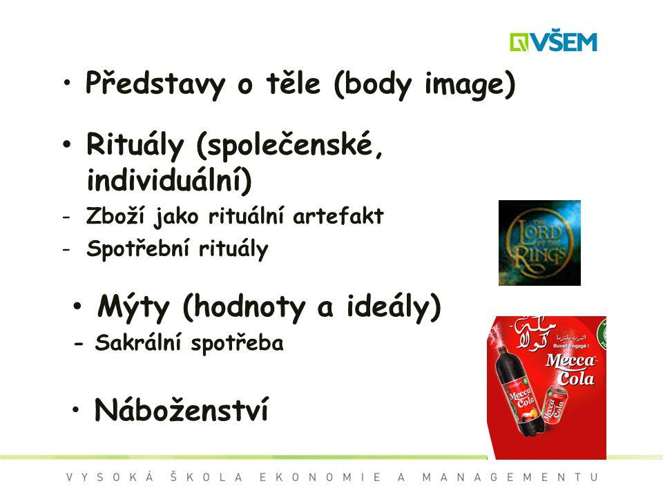 Náboženství Představy o těle (body image) Rituály (společenské, individuální) -Zboží jako rituální artefakt -Spotřební rituály Mýty (hodnoty a ideály)