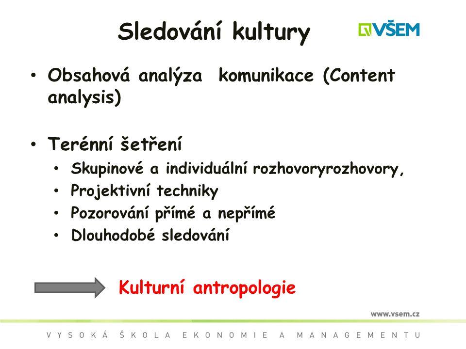Sledování kultury Obsahová analýza komunikace (Content analysis) Terénní šetření Skupinové a individuální rozhovoryrozhovory, Projektivní techniky Poz