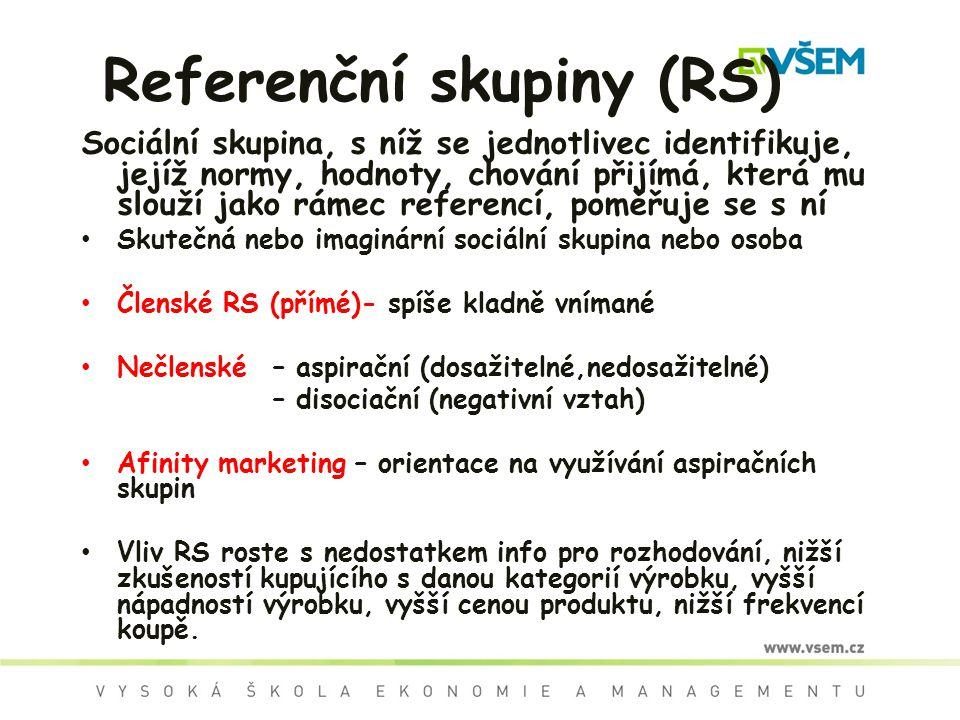 Referenční skupiny (RS) Sociální skupina, s níž se jednotlivec identifikuje, jejíž normy, hodnoty, chování přijímá, která mu slouží jako rámec referen