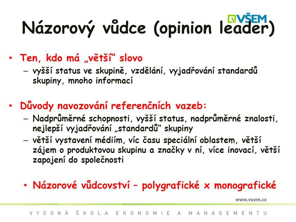 """Názorový vůdce (opinion leader) Ten, kdo má """"větší"""" slovo – vyšší status ve skupině, vzdělání, vyjadřování standardů skupiny, mnoho informací Důvody n"""