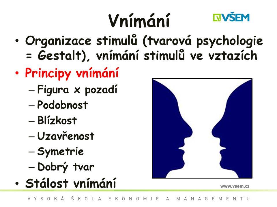 Vnímání Organizace stimulů (tvarová psychologie = Gestalt), vnímání stimulů ve vztazích Principy vnímání – Figura x pozadí – Podobnost – Blízkost – Uz