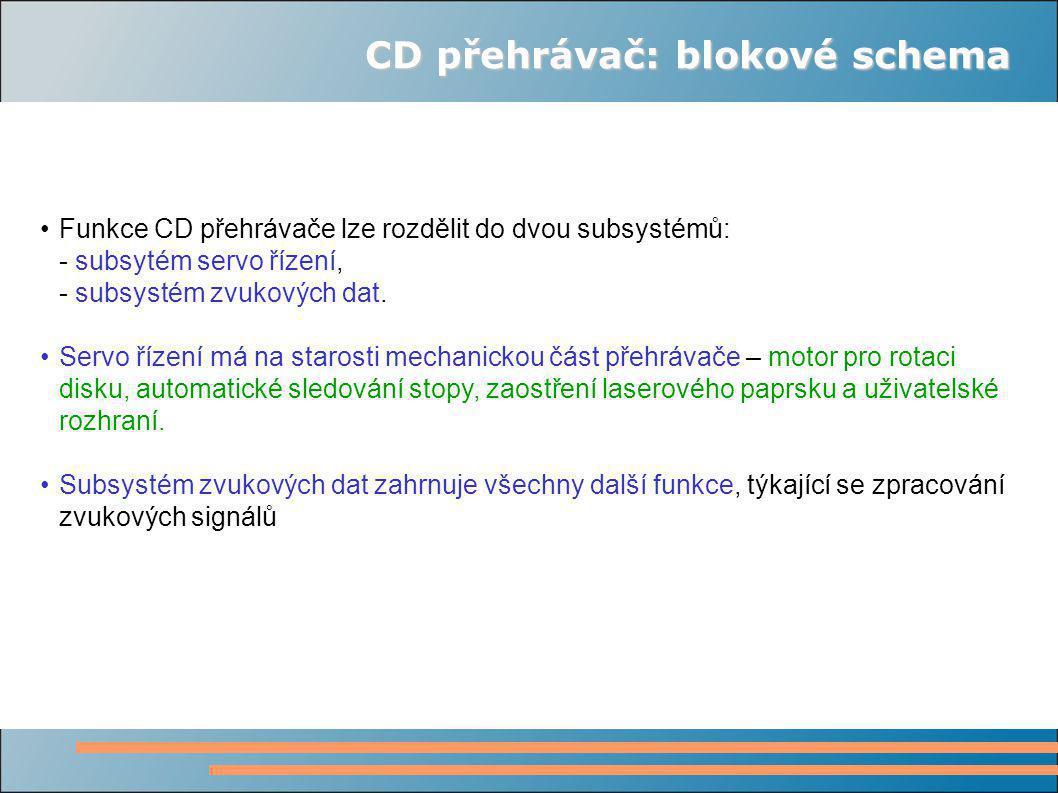 CD přehrávač: blokové schema Funkce CD přehrávače lze rozdělit do dvou subsystémů: - subsytém servo řízení, - subsystém zvukových dat.