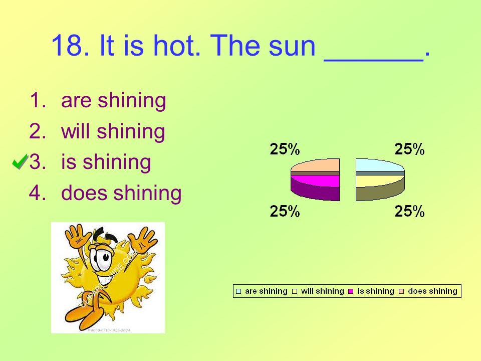 18. It is hot. The sun ______. 1.are shining 2.will shining 3.is shining 4.does shining