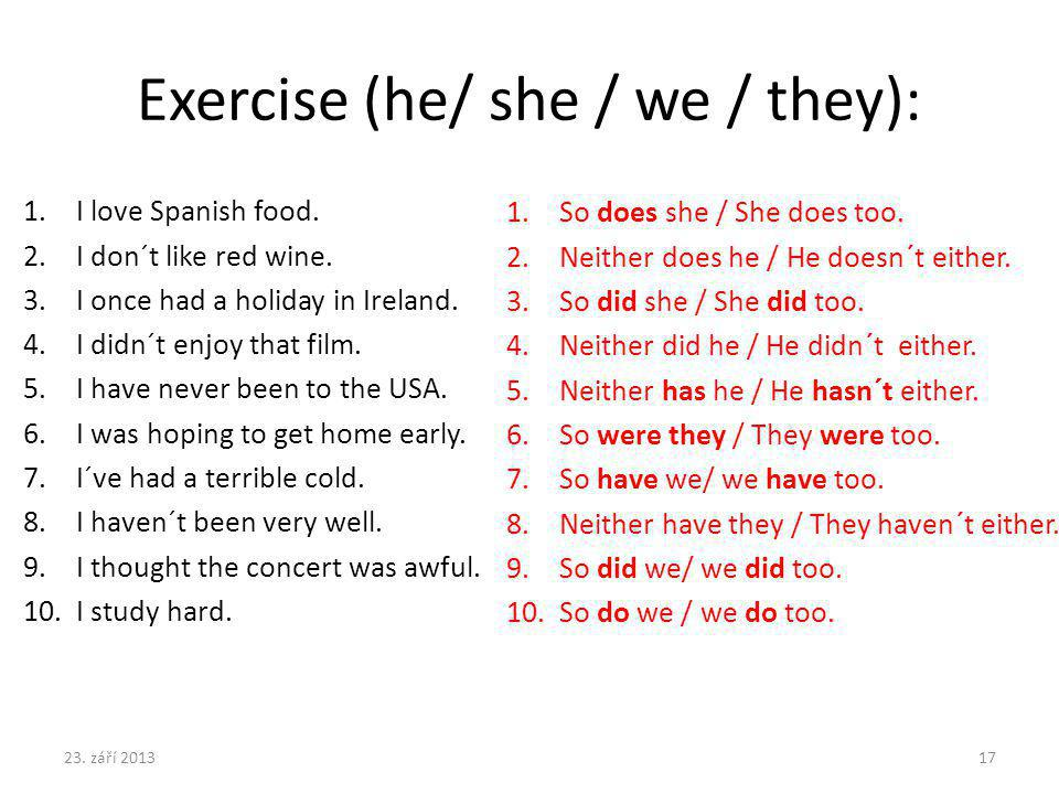 Exercise (he/ she / we / they): 1.I love Spanish food. 2.I don´t like red wine. 3.I once had a holiday in Ireland. 4.I didn´t enjoy that film. 5.I hav