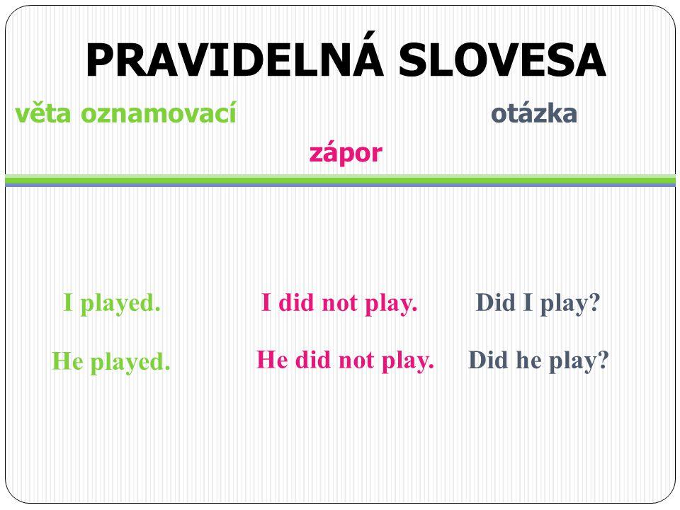 věta oznamovací otázka I played. zápor I did not play.Did I play? He He did not play. Did he play? PRAVIDELNÁ SLOVESA played.
