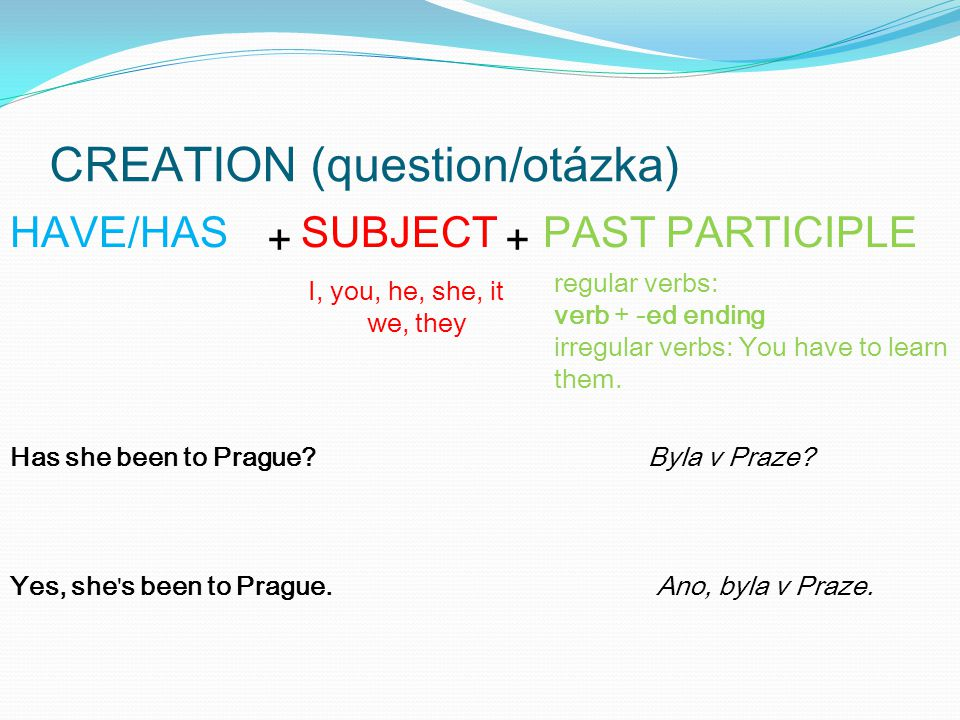 CREATION (question/otázka) + + SUBJECTHAVE/HASPAST PARTICIPLE I, you, he, she, it we, they Has she been to Prague Byla v Praze.