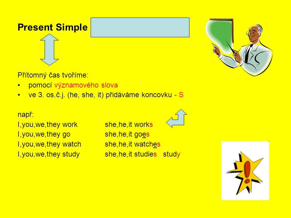 Present Simple - Přítomný čas prostý Přítomný čas tvoříme: pomocí významového slova ve 3. os.č.j. (he, she, it) přidáváme koncovku - S např: I,you,we,