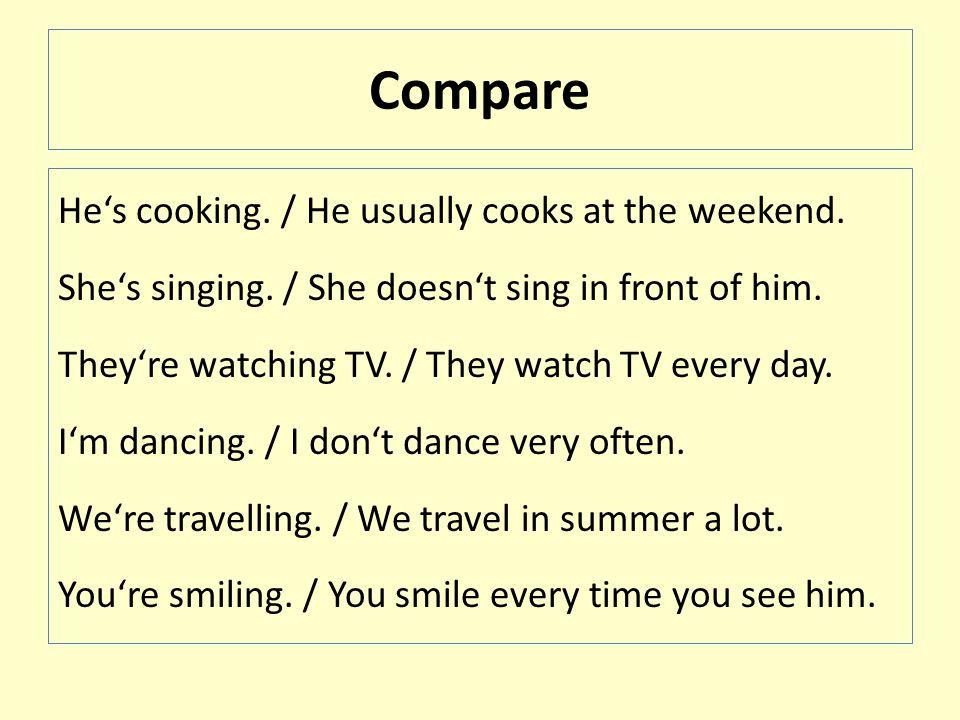 Make sentences cook / cooking sleep / sleeping speak / speaking sing / singing read / reading sit / sitting watch / watching write / writing play / playing swim / swimming