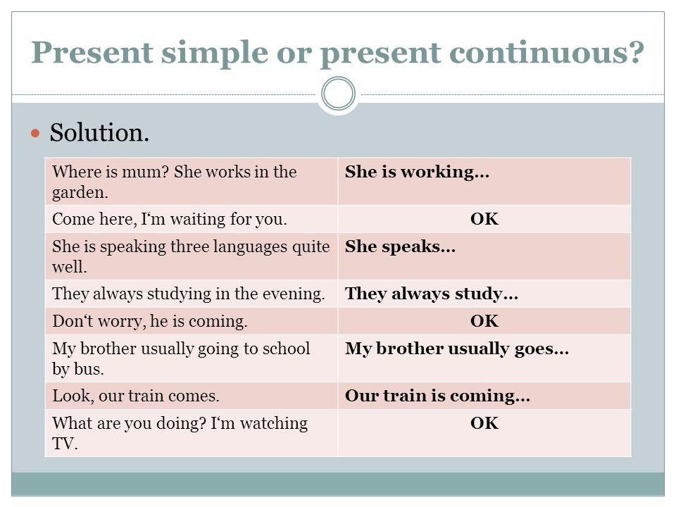 Present simple or present continuous. Solution. Where is mum.