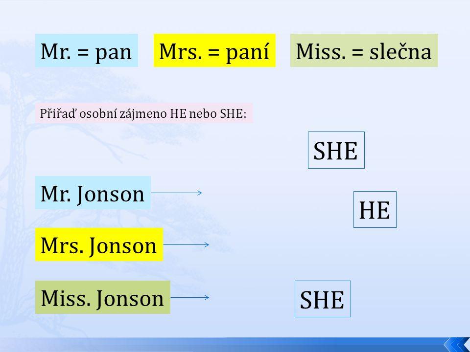 Mr. = pan Mrs. = paníMiss. = slečna Přiřaď osobní zájmeno HE nebo SHE: Mr.