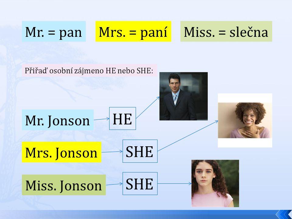 Mr. = pan Mrs. = paníMiss. = slečna Přiřaď osobní zájmeno HE nebo SHE: Mr. Jonson Mrs. Jonson Miss. Jonson SHE HE SHE