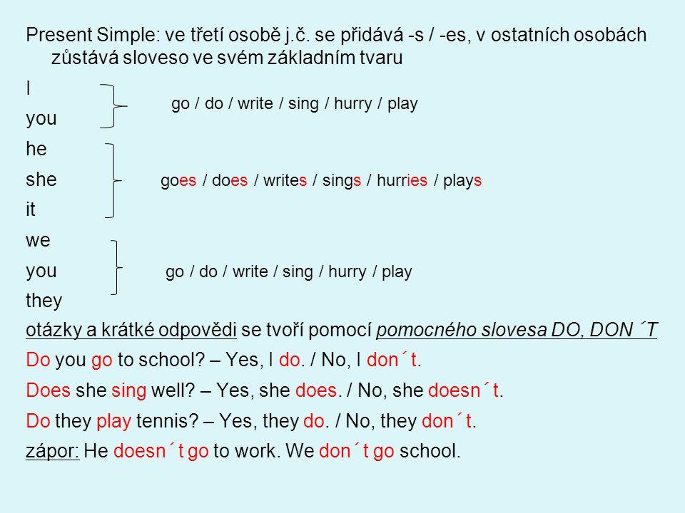 Present Continuous: složený slovesný tvar, skládá se z příslušného tvaru slovesa to be a slovesa zakončeného příponou –ing Iam Youare Heis Sheisreading a book at the moment.