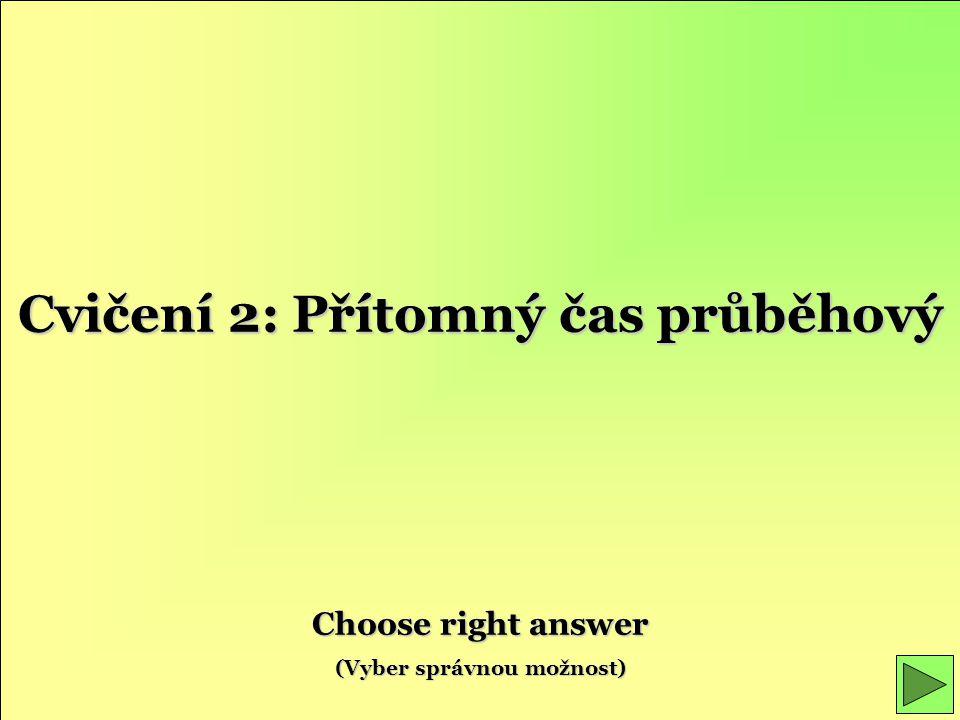 Cvičení 2: Přítomný čas průběhový Choose right answer (Vyber správnou možnost)