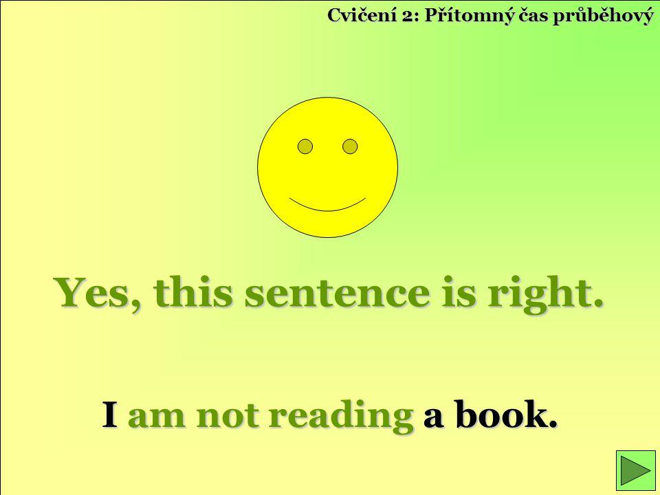 Yes, this sentence is right. I am not reading a book. Cvičení 2: Přítomný čas průběhový