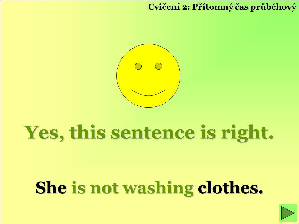 Yes, this sentence is right. She is not washing clothes. Cvičení 2: Přítomný čas průběhový