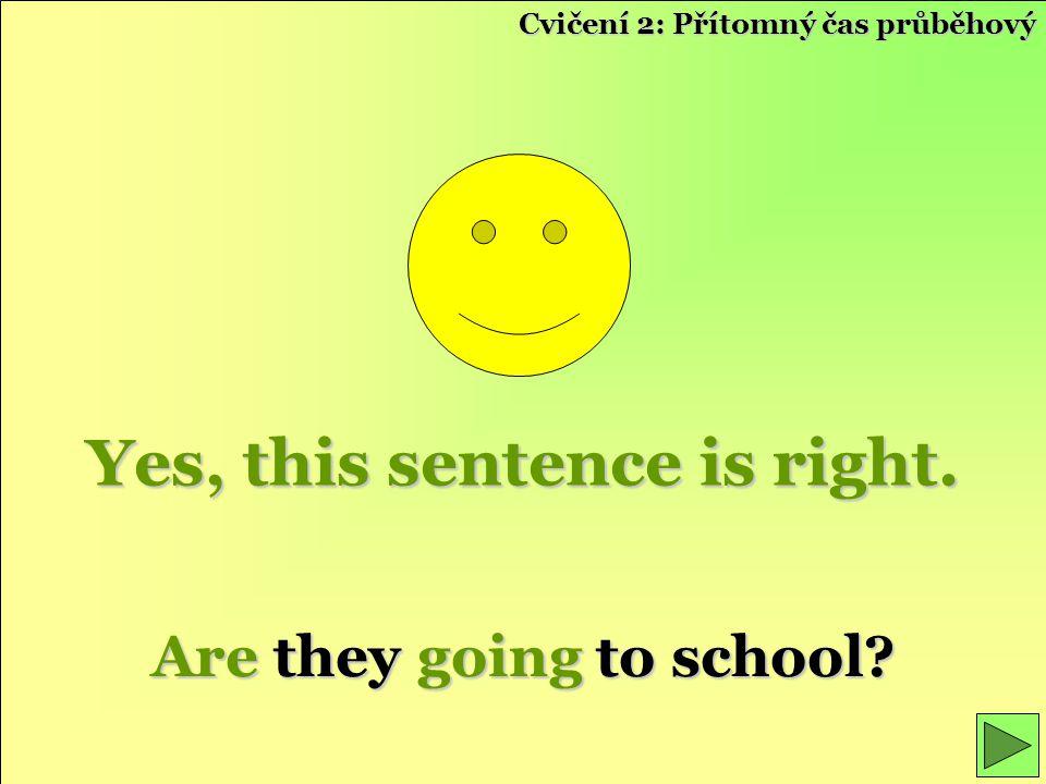 Yes, this sentence is right. Are they going to school? Cvičení 2: Přítomný čas průběhový