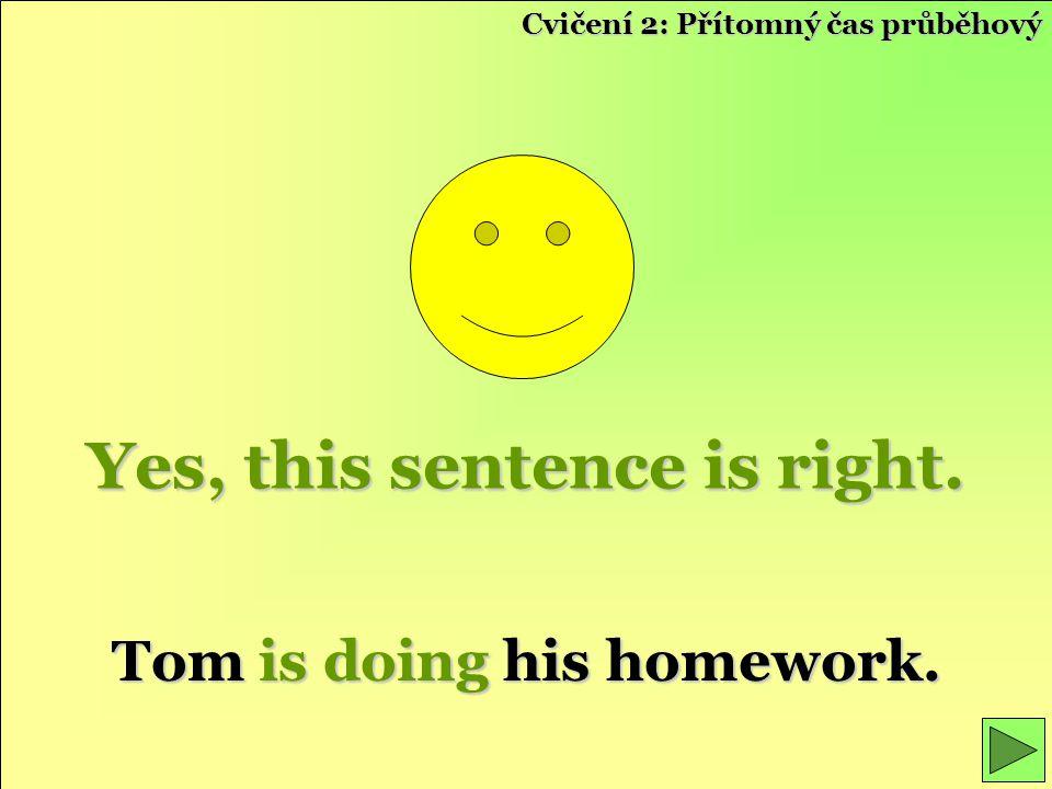 Yes, this sentence is right. Tom is doing his homework. Cvičení 2: Přítomný čas průběhový