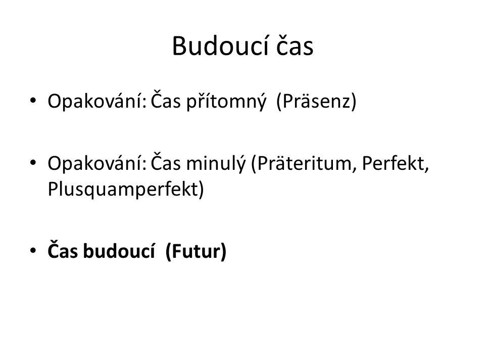 Budoucí čas Opakování: Čas přítomný (Präsenz) Opakování: Čas minulý (Präteritum, Perfekt, Plusquamperfekt) Čas budoucí (Futur)