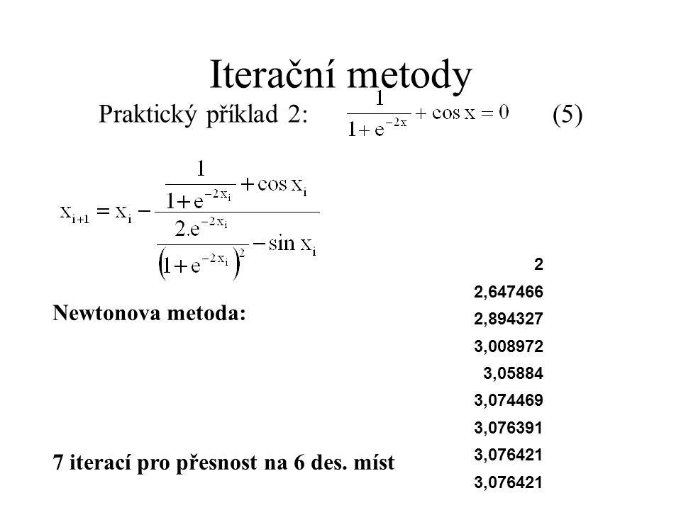 Newtonova metoda: 7 iterací pro přesnost na 6 des. míst Iterační metody Praktický příklad 2: (5) 2 2,647466 2,894327 3,008972 3,05884 3,074469 3,07639